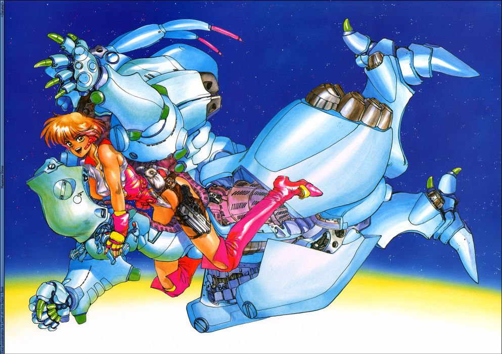 original aqua blue intron depot mechagirl original robot shirow masamune sky tagme wallpaper