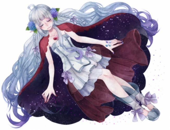 original cape dress long hair ribbons sleeping tagme (character) tsuyuki white wallpaper