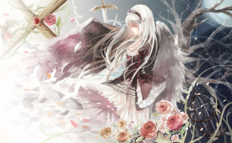 rozen maiden flowers gray hair headband long hair petals red eyes rose rozen maiden suigintou sword ty-papapa weapon wings wallpaper