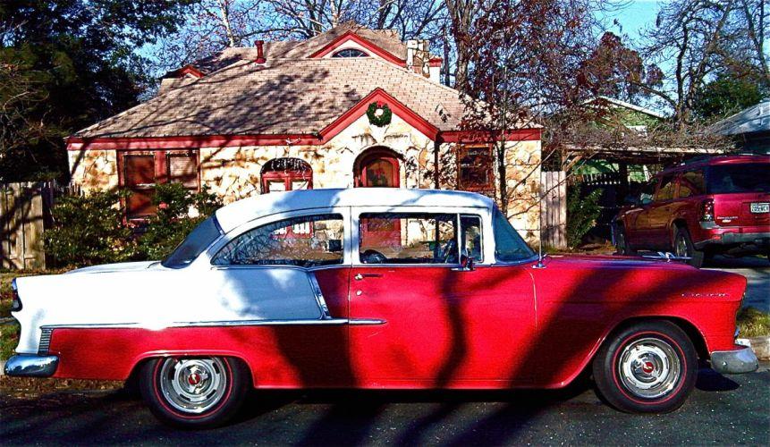 1955 Chevrolet Two Door Sedan retro f wallpaper