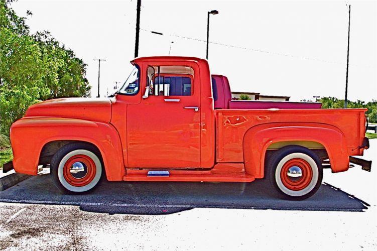 1956 Ford F100 pickup custom retro f wallpaper