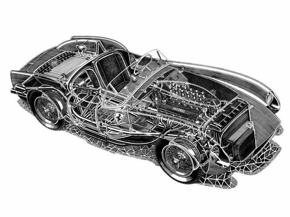1957 Ferrari 250 Testa Rossa Scaglietti Spyder supercar retro race racing interior engine    g wallpaper