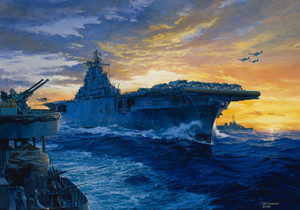 aircraft carrier on station painting navy art navy military     g wallpaper