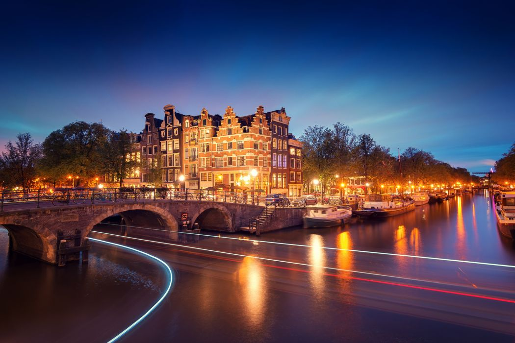 Amsterdam Netherlands Holland city night bridge canal lights exposure light lighting lights river boats trees wallpaper
