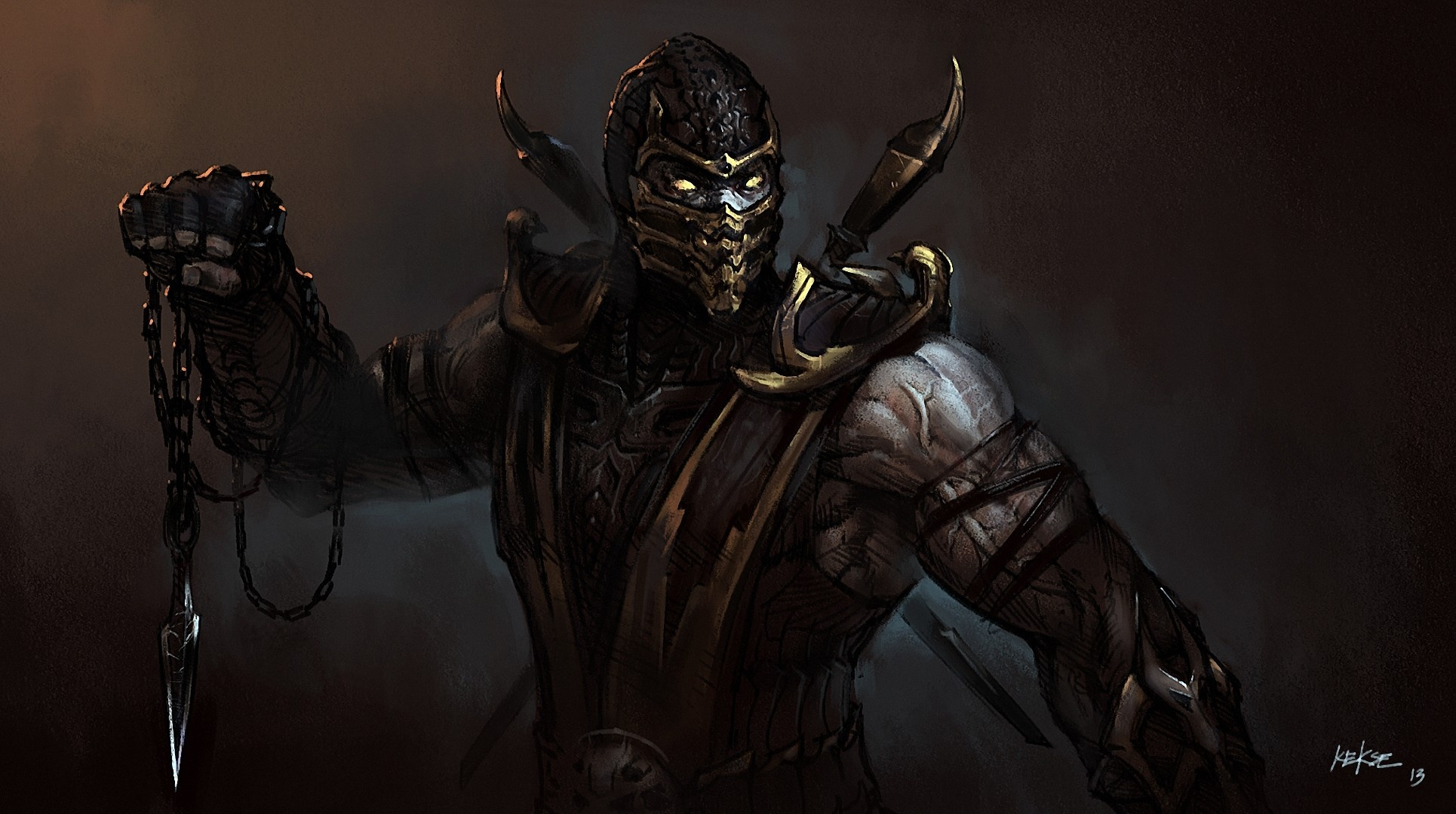 Art Chain Mask Druschie Scorpion Mortal Kombat Warrior Fantasy