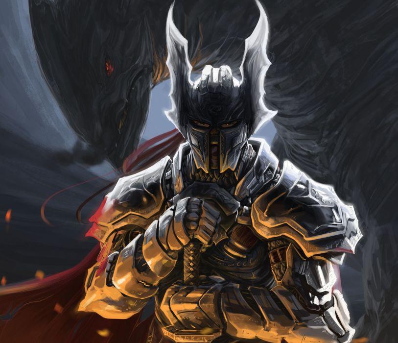 art peter balogh armor warrior monster helmet wallpaper