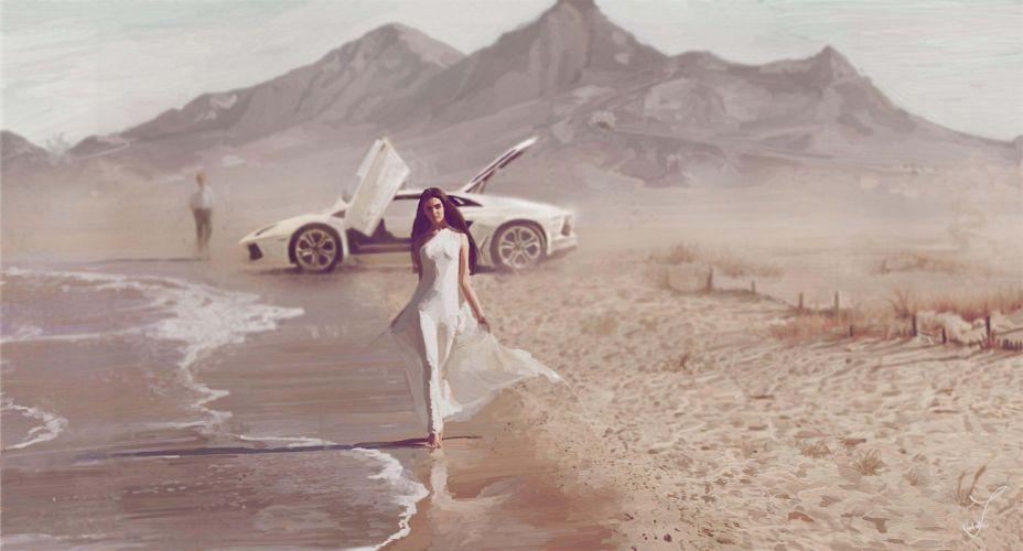 Art sea coast girl car mood beach lamborghini supercar brunette wallpaper
