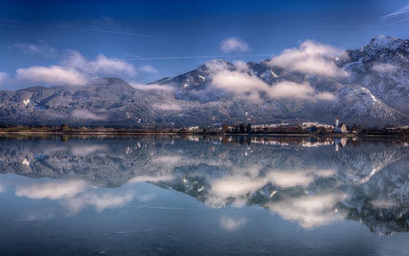Bavaria Germany Alps mountains reflection lake wallpaper