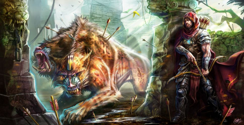 Battle Magical animals Archers Warrior monster wallpaper