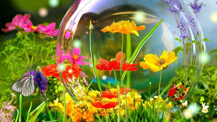 bokeh globe mood flowers butterly bubbles wallpaper