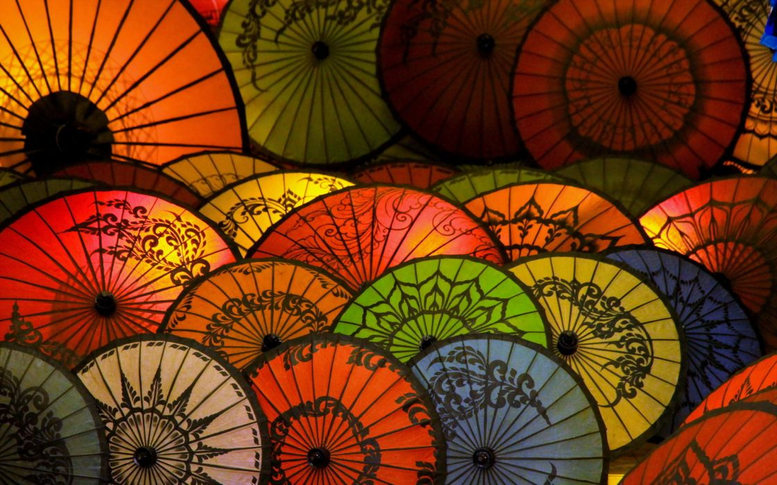color shape abstraction umbrella bokeh wallpaper