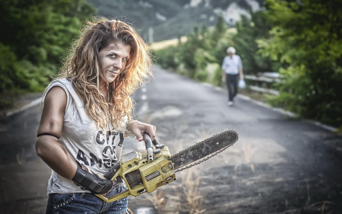 Creative Chainsaw Girls dark wallpaper