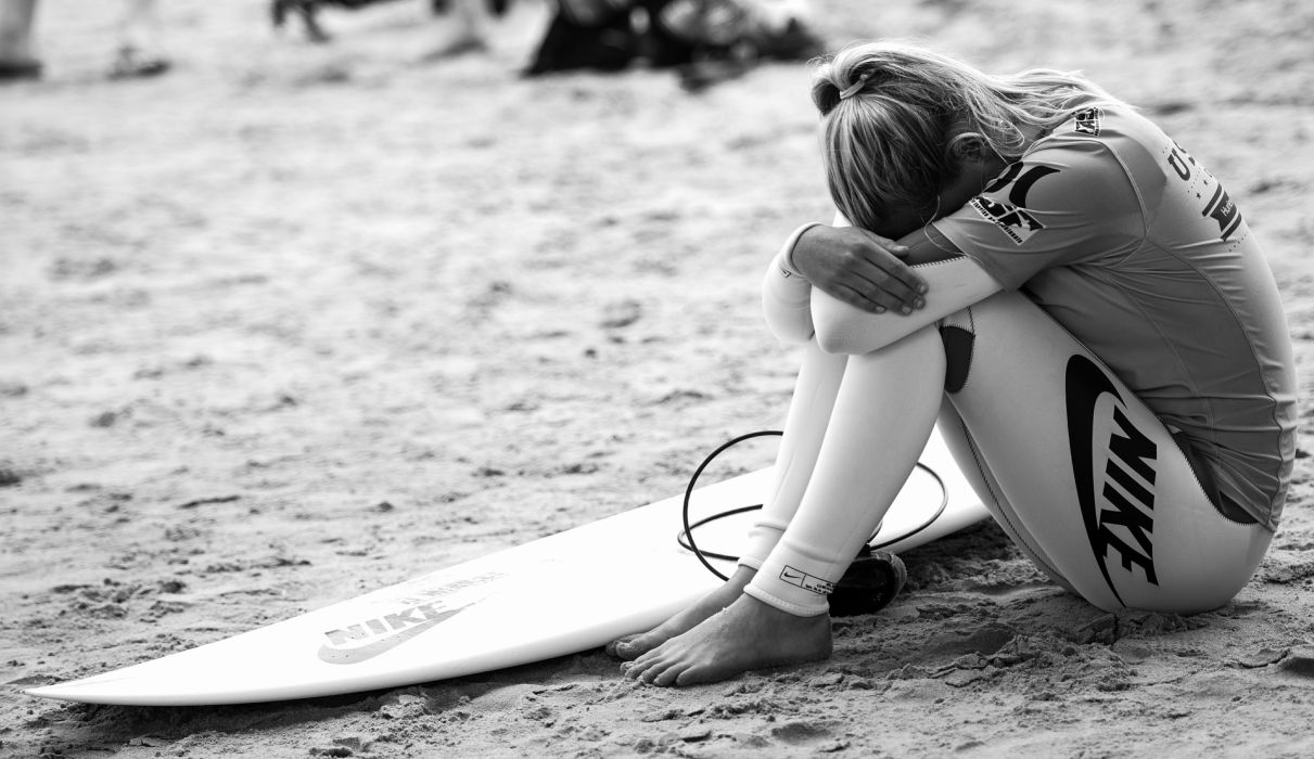 girl beach experience excitement surfing surfboard mood wallpaper