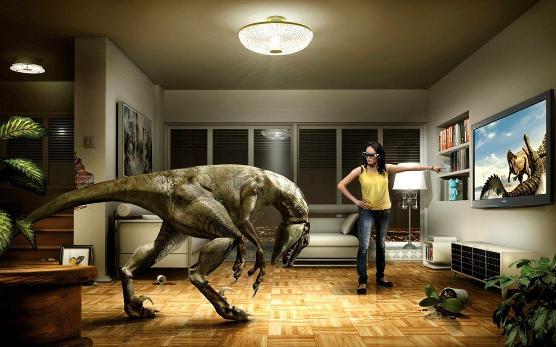 humor bathroom dinosaur girl wallpaper