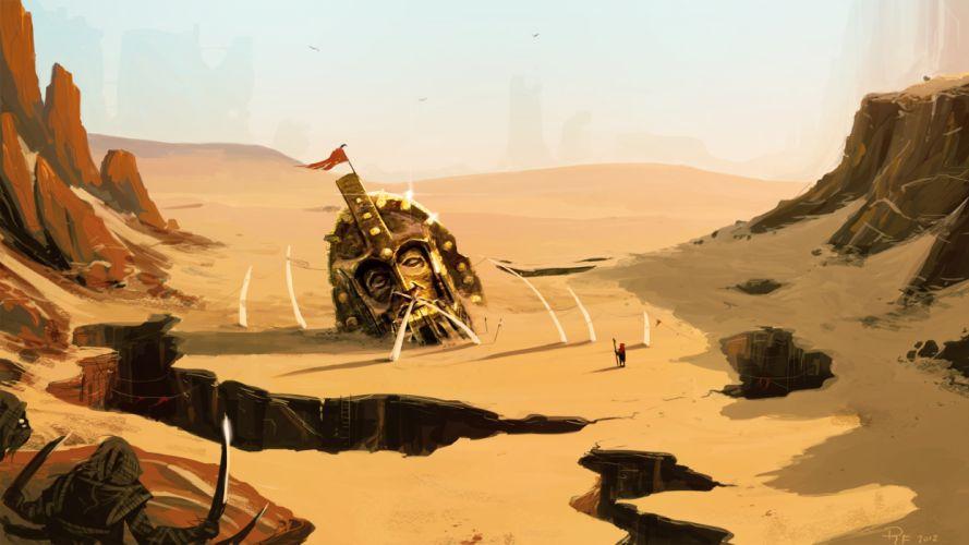 landscape dips head desert art wallpaper