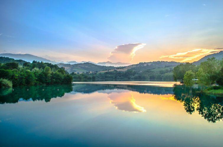 Marche Italy river dawn reflection wallpaper