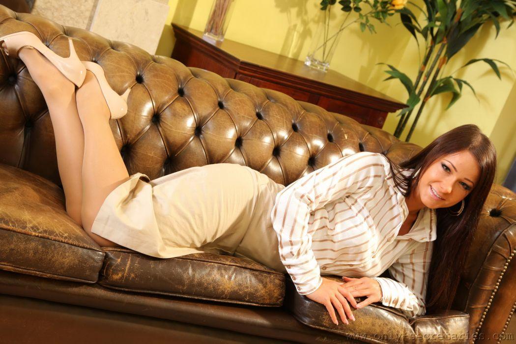 Melisa Mendiny Sofa Formal shirt Girls brunette sexy babe wallpaper