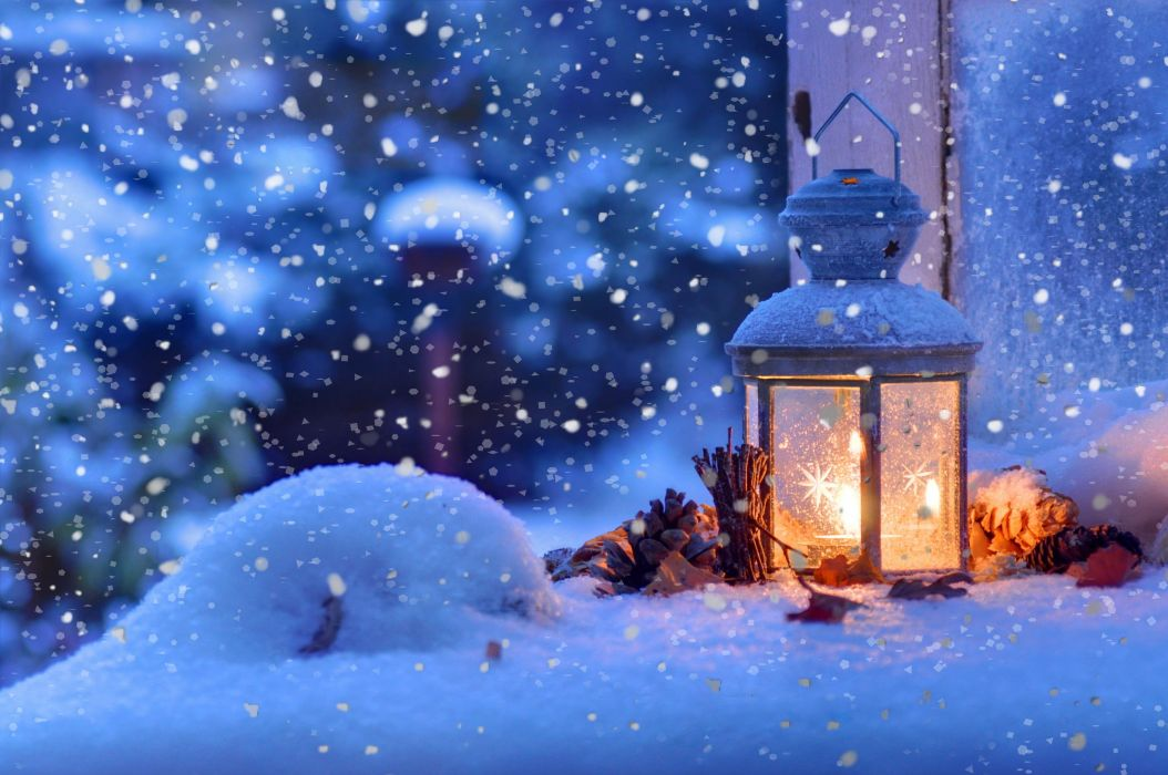 mood Christmas winter snow bokeh wallpaper