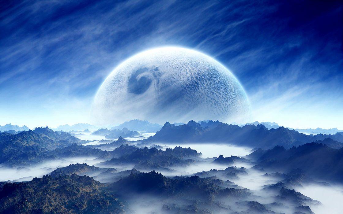 mountain sky landscape blue cloud planet sci-fi white wallpaper