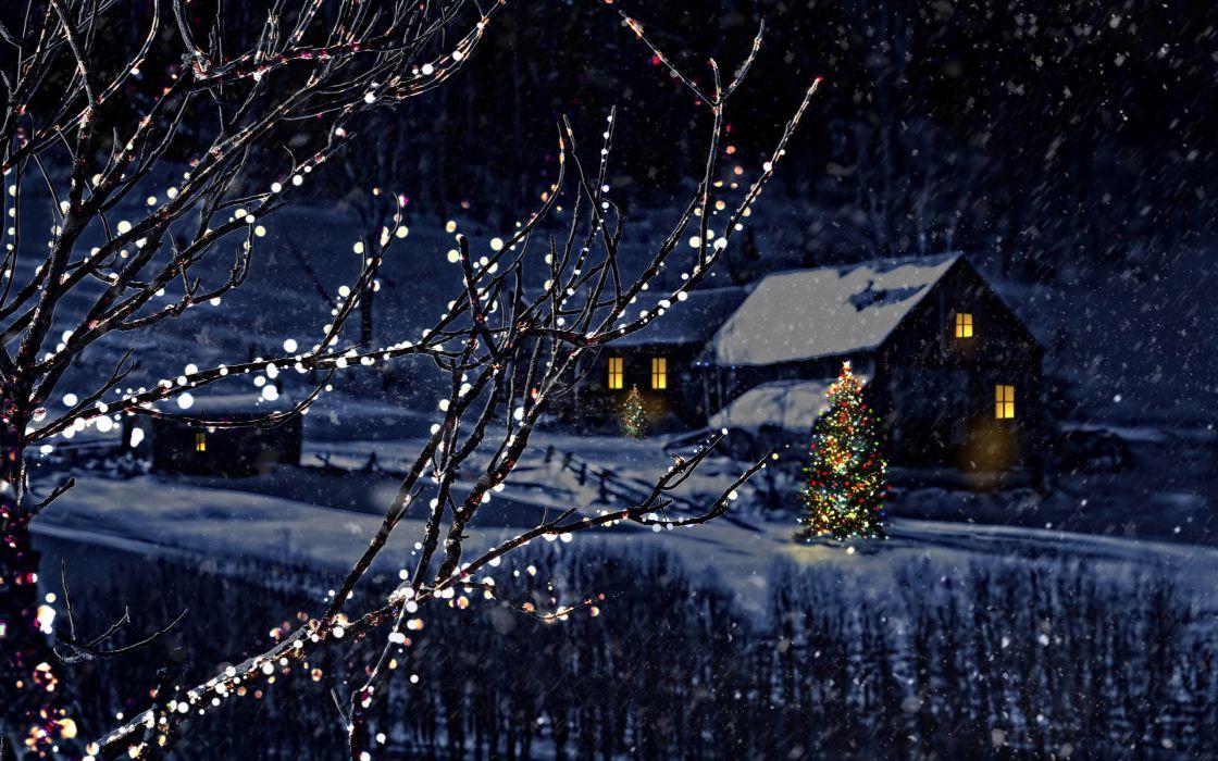 Night christmas tree new year winter bokeh wallpaper  2560x1600