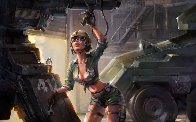 original Art girl mechanic repair helmet equipment military sexy babe f wallpaper