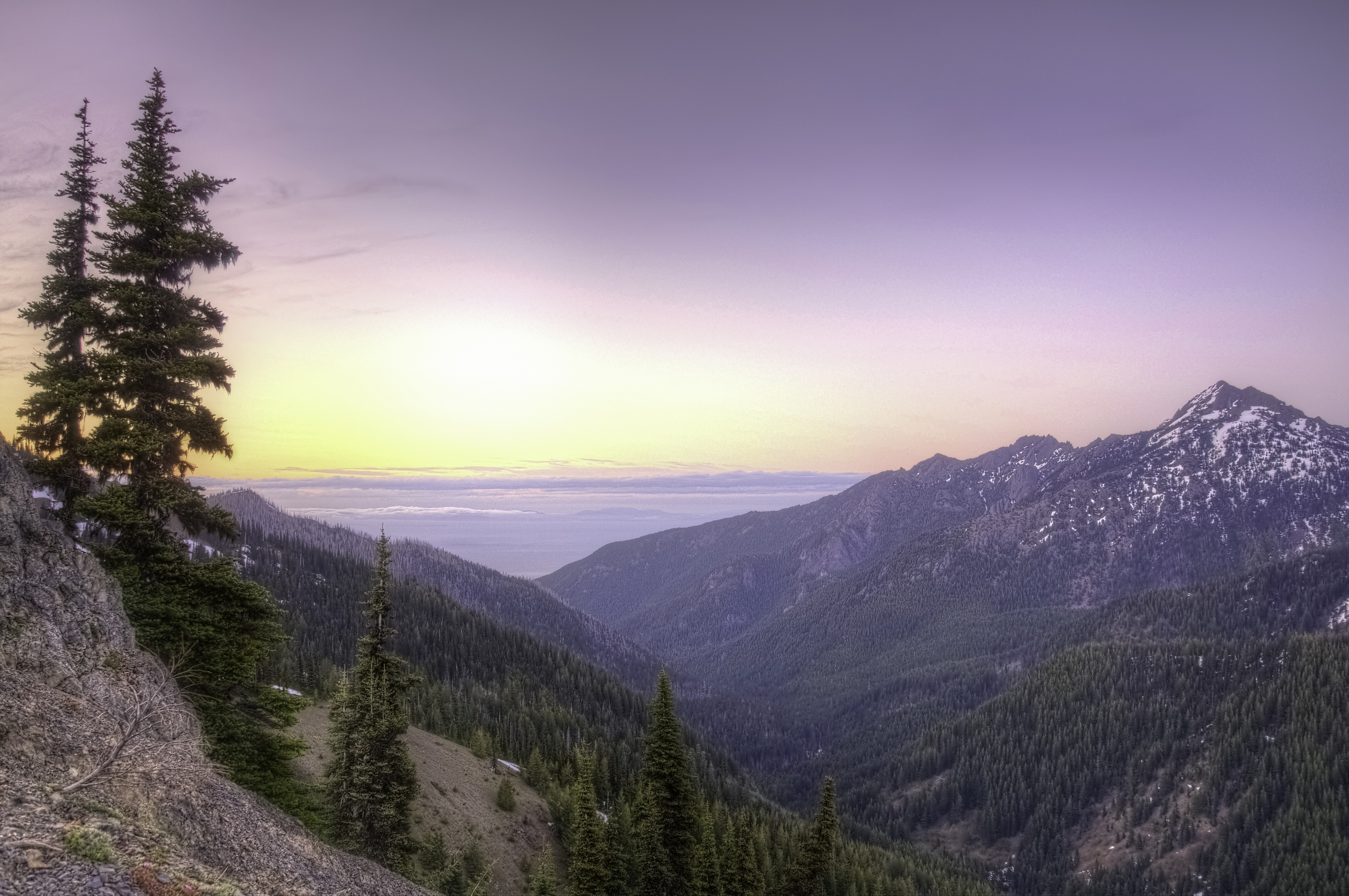 Olympic mountains dawn sunrise panorama mountains wallpaper