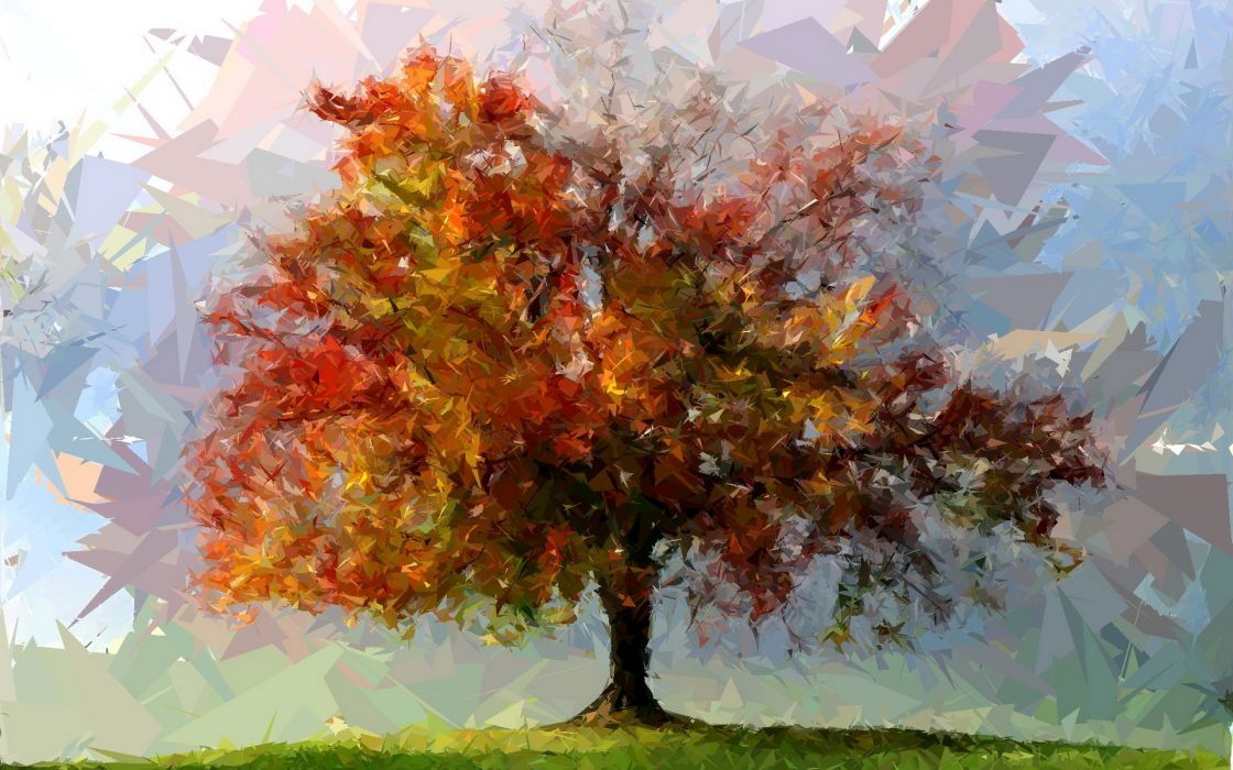 painting tree art abstract fotosketcher shattered autumn      f wallpaper