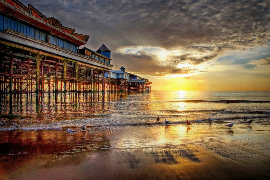 Pier Blackpool United Kingdom sunset landscape    f wallpaper