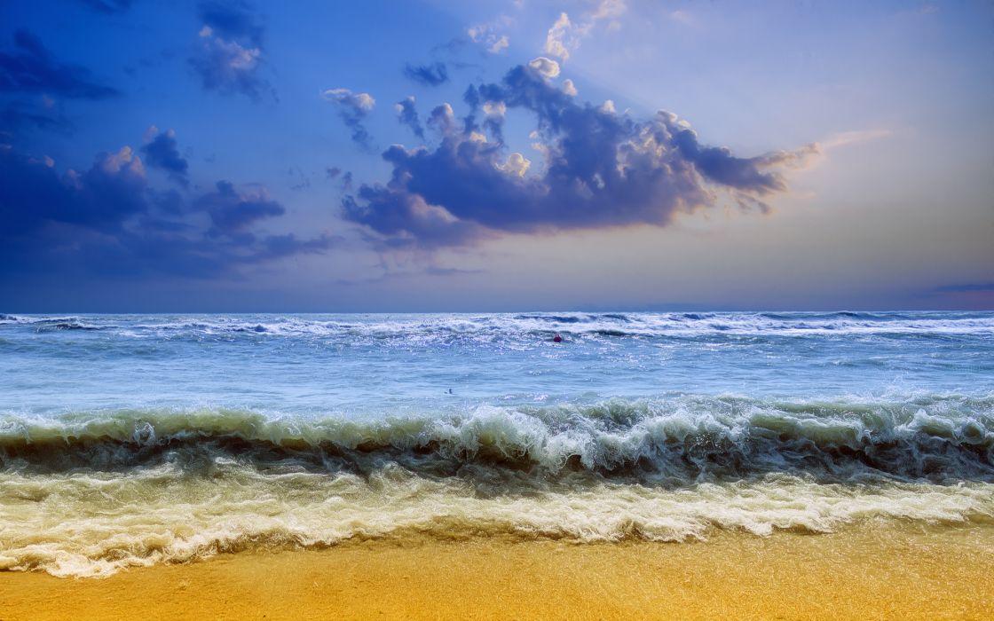 sea waves sky landscape wallpaper
