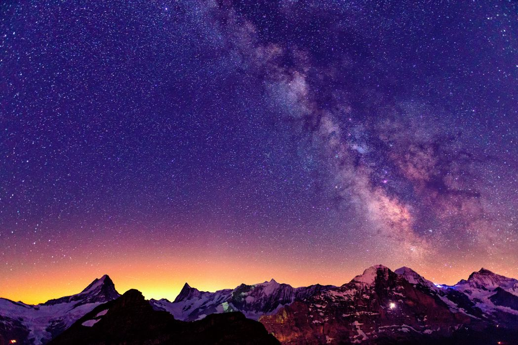 Sky Stars Mountains Switzerland Sunrises and sunsets Alps Nature wallpaper