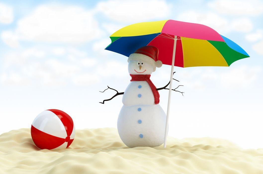 Snowmen Umbrella Winter hat wallpaper