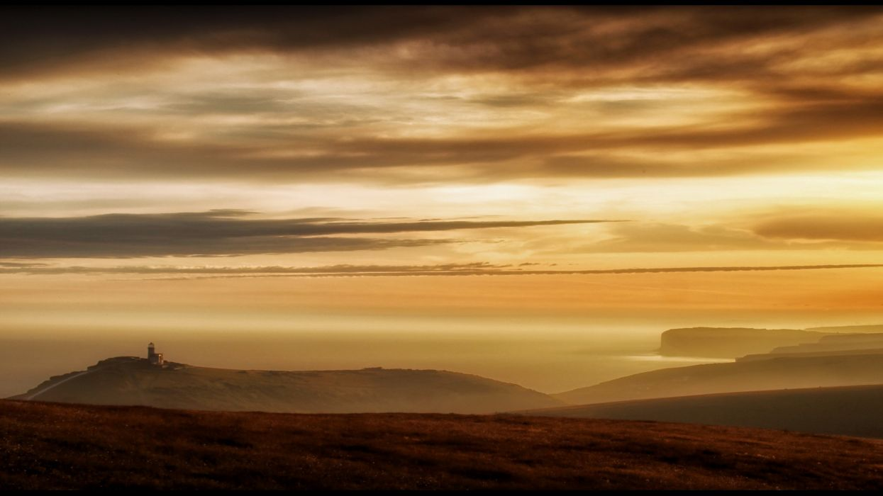sunset landscape sea ocean sky clouds fog wallpaper