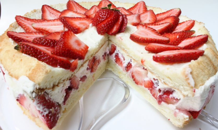 Sweets Cakes Strawberry Closeup Food wallpaper