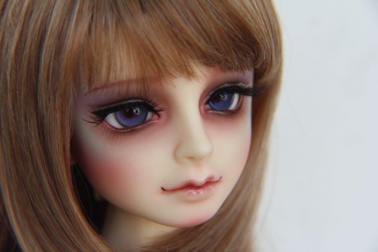 Toy Eyes Glance Face Doll Dark Blonde girl bokeh wallpaper