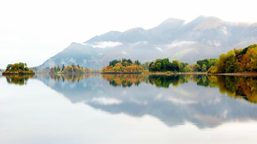 uk mountain england trees mist fog autumn reflection lake wallpaper