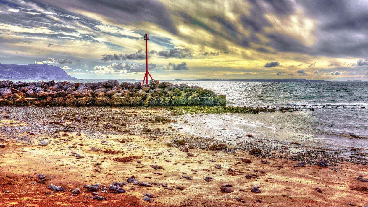 UK sea beach rocks landscape   r wallpaper