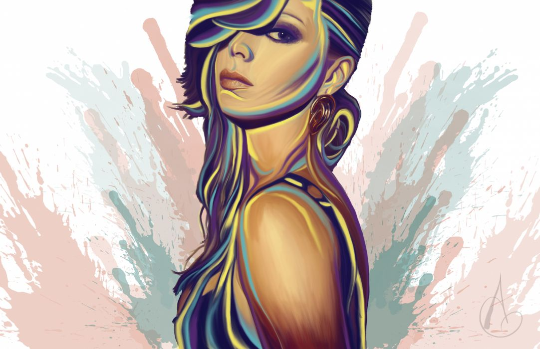 Vector Graphics Girls mood art glance wallpaper