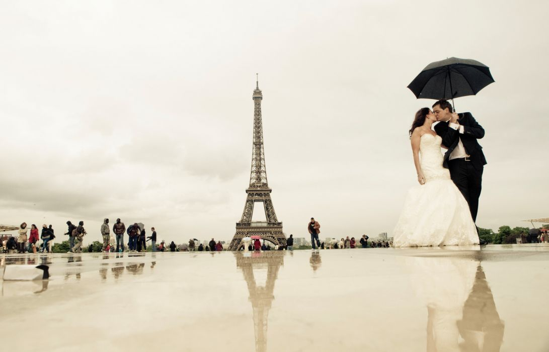 Wedding Bride Gown Dress Fasshion Mood Love Eiffel Tower Paris France F Wallpaper