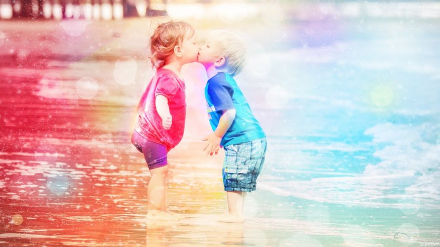 baby kiss cute child kids mood f wallpaper