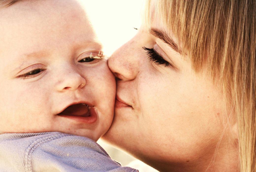 baby kiss cute child kids mood love    f wallpaper