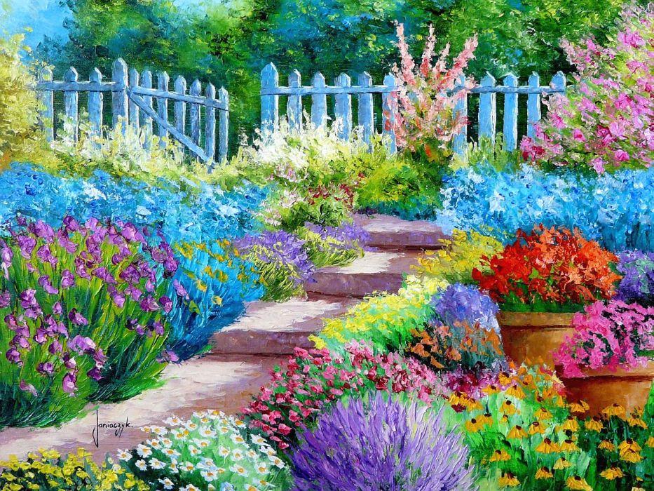 Flower Garden painting art wallpaper | 1600x1200 | 176827 ...