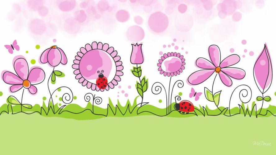 Flower Garden spring vector wallpaper