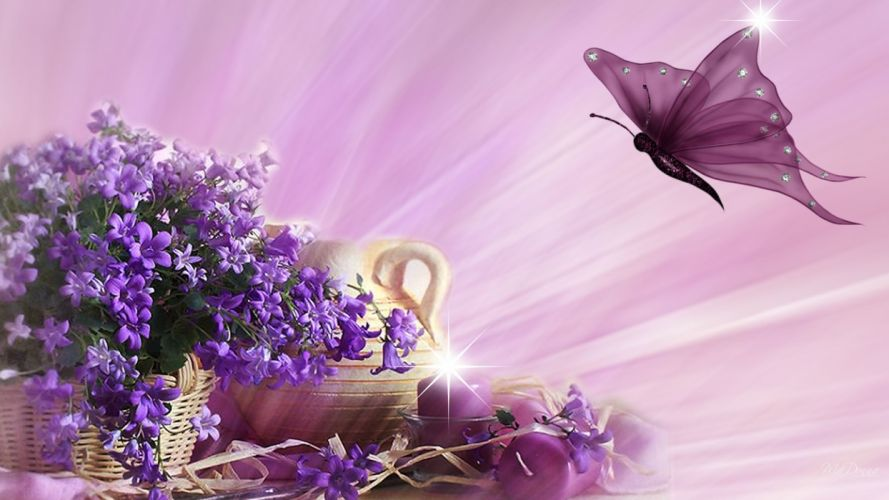 Violets and Pink abstract butterfly candle candles flame flowers Persona pitcher spring bokeh g wallpaper