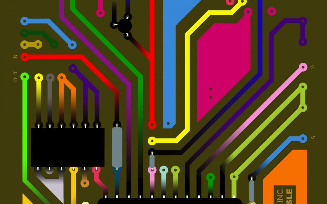 electronic equipment fee microchip circuits paths wallpaper