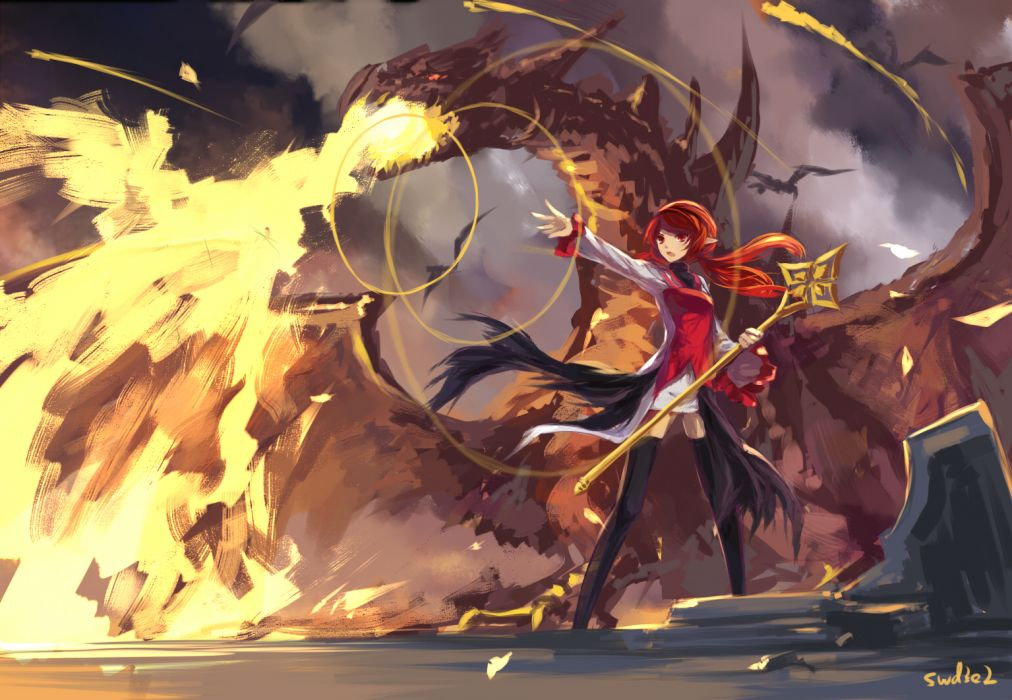 dungeon and fighter dragon fire long hair pointed ears red eyes red hair staff swd3e2 thighhighs wallpaper