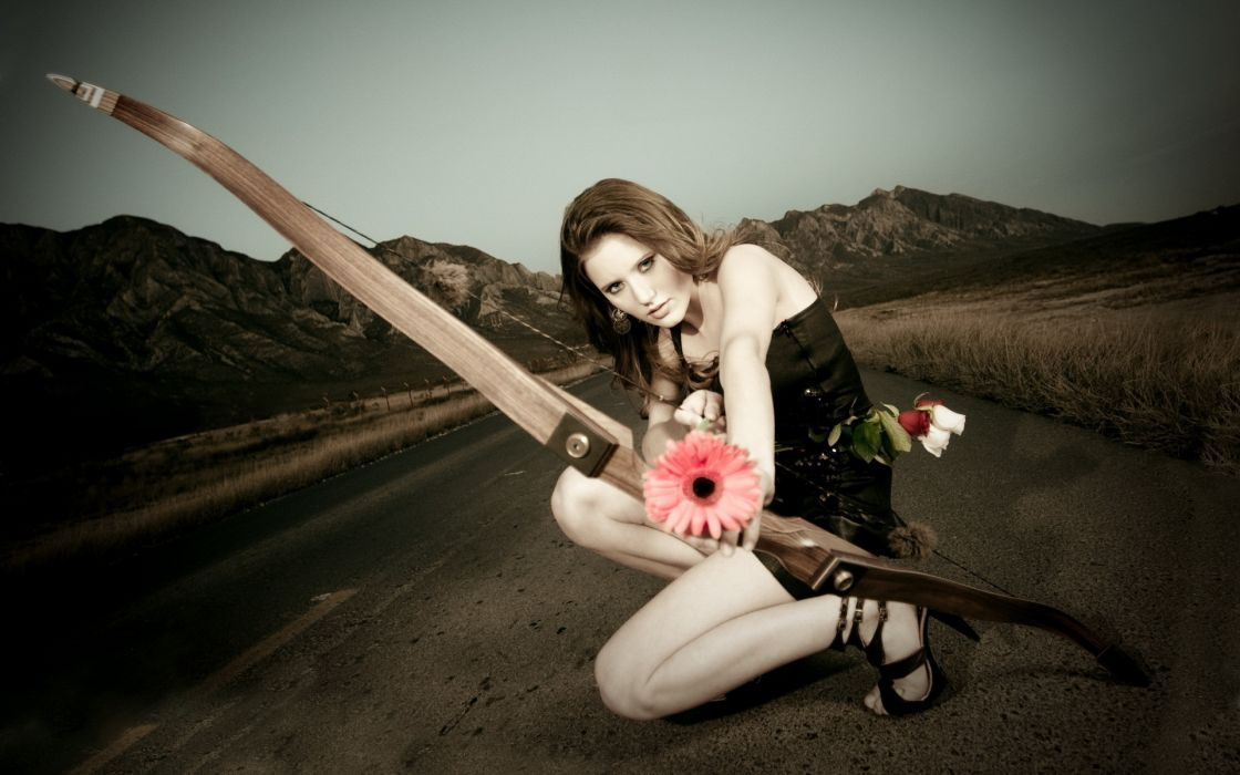 girl bow flower the road archer cosplay brunette weapon wallpaper