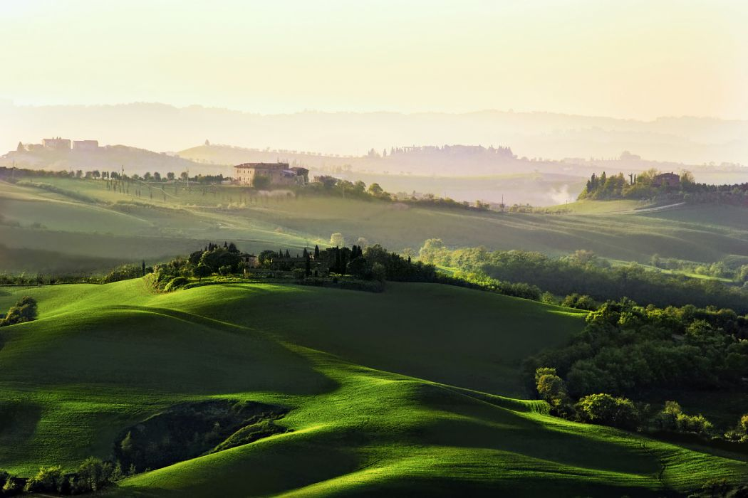 hills fields trees houses Italy Tuscany morning dawn haze wallpaper