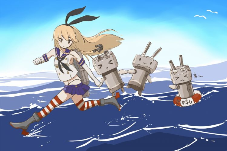 kantai collection blonde hair boots bow elbow gloves kantai collection long hair robot shimakaze (kancolle) takekumo thighhighs water wallpaper