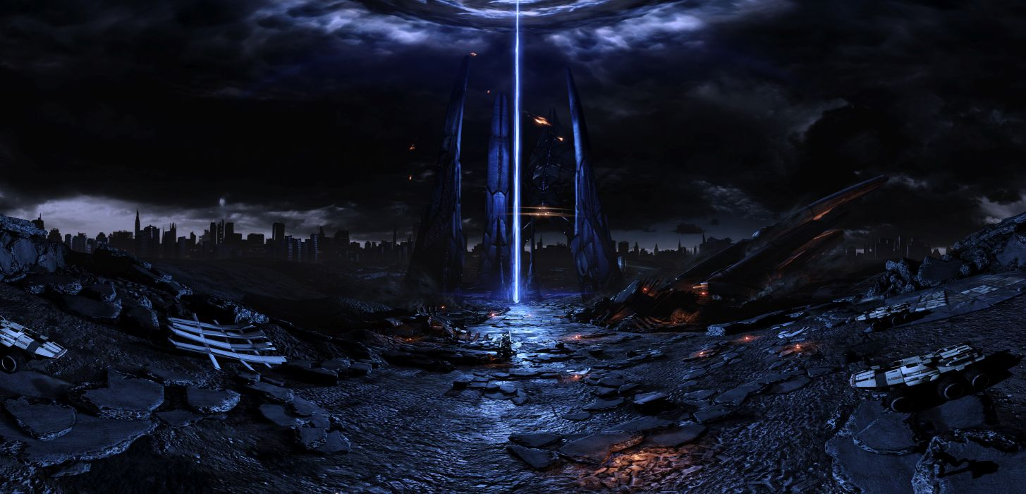 mass effect fan reaper harbinger art pano spaceship sci-fi apocalyptic wallpaper
