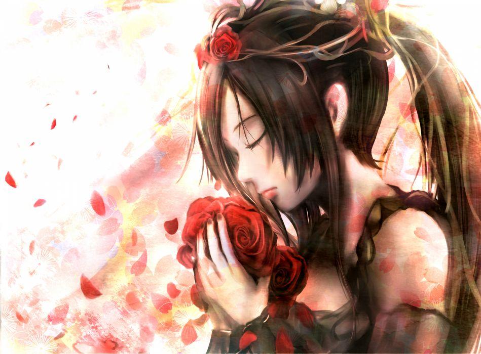 original mood black hair flowers headdress long hair original petals ponytail rose zhang xiao bo wallpaper